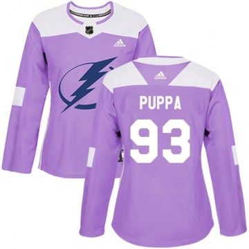 Adidas Tampa Bay Lightning Women's Daren Puppa Authentic Purple Fights Cancer Practice NHL Jersey